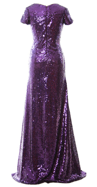 MACloth Mermaid Cap Sleeve Sequin Long Bridesmaid Dress Formal Evening Gown