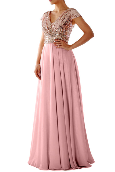 Cap Sleeves V Neck Sequin Chiffon Rose Gold Bridesmaid Dress