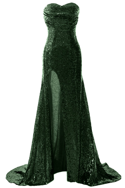MACloth Sequin Prom Dresses Mermaid Strapless Formal Evening Gown with Split