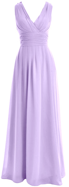 MACloth Long Romantic Wedding Party Bridesmaid Dresses V neck Sleeveless
