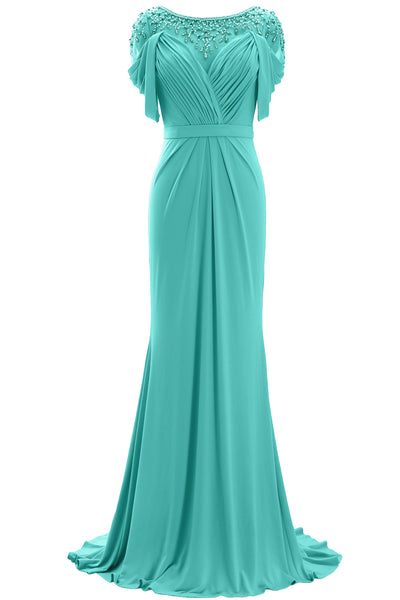 MACloth Women Mother of the Bride Dress Short Sleeves Jersey Formal Evening Gown