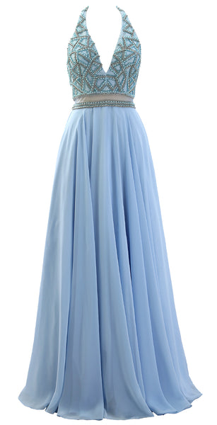 MACloth Women Halter V Neck Beaded Formal Evening Gown Two Piece Long Prom Dress