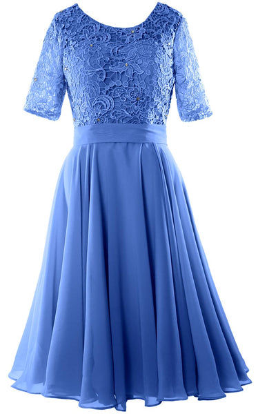 MACloth Women Short Mother Bride Dresses Half Sleeve Wedding Guest Dinner Lace