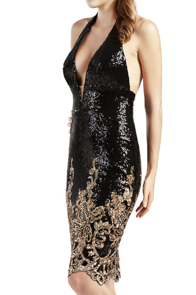 MACloth Women Little Black Dress Deep V Neck Halter Cocktail Party Formal Gown