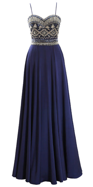 MACloth Women Straps Beaded Formal Evening Ball Gown Chiffon Long Prom Dress