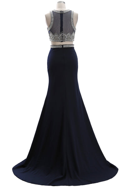 MACloth Women Two Piece Beaded Formal Evening Gown O Neck Sheath Long Prom Gown