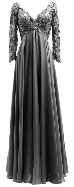 MACloth Women Mother of Bride Dresses V Neck Lace Long Sleeves Evening Gown
