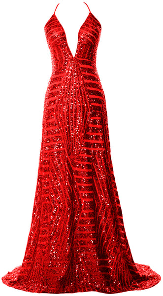 MACloth Women Deep V Neck Sequin Long Prom Dress Sexy Formal Party Evening Gown