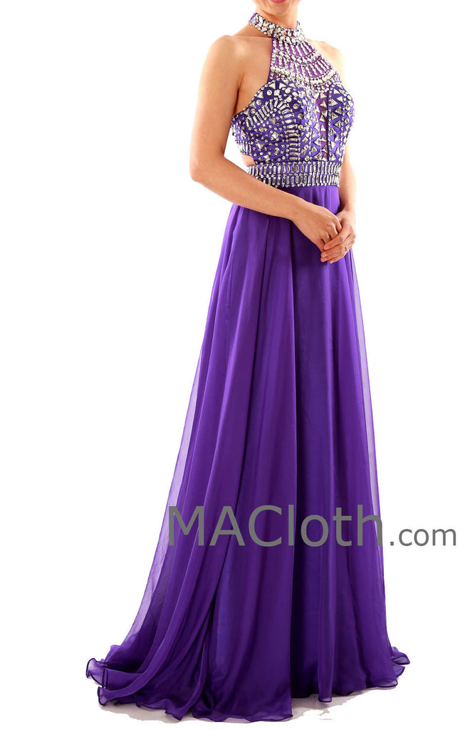 MACloth Halter A  Line Crystals Chiffon Purple Long Prom Dress with Court Train 160120