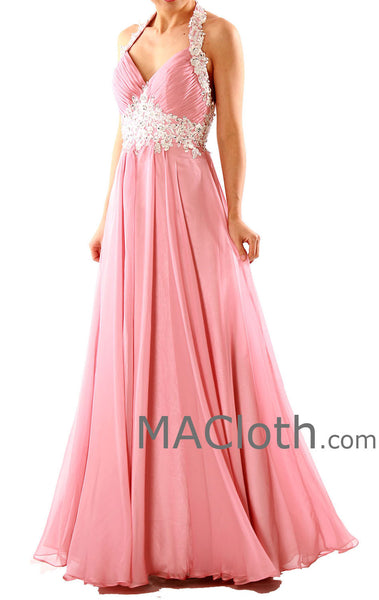 MACloth Women Halter Sweetheart with Lace Long Chiffon Peach Prom Dress 160125