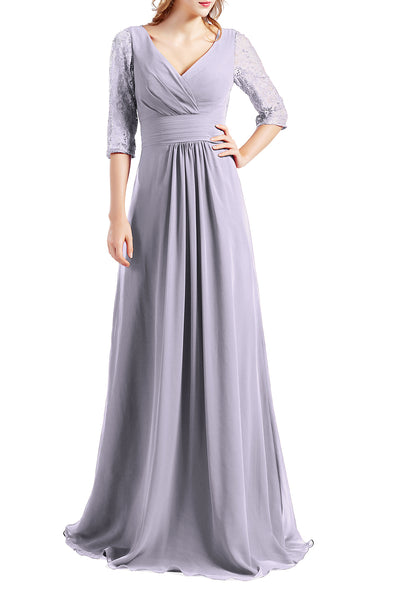 MACloth Women Half Sleeve V Neck Lace Long Wedding Party Bridesmaid Mother Dress