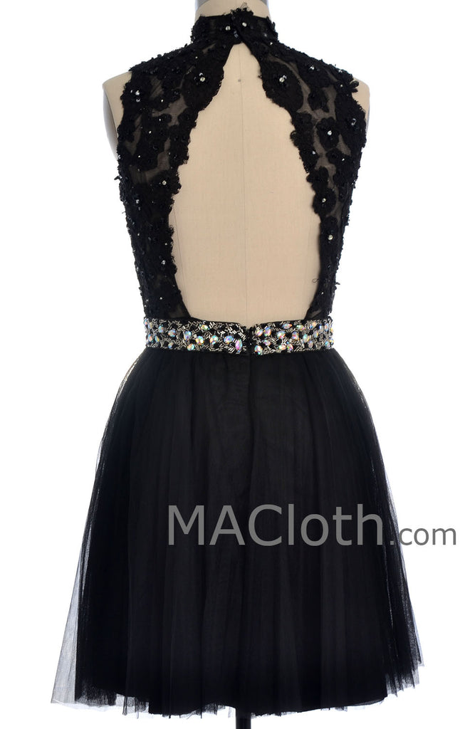MACloth Women's High Neck Short Lace Homecoming Prom Dress Formal Party Gown (EU54, Negro)