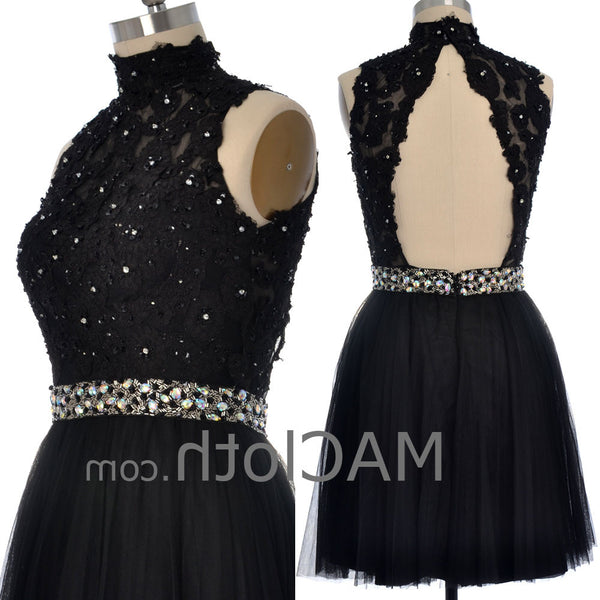 MACloth Women High Neck Black Lace Tulle Short Prom Dress with Open Back