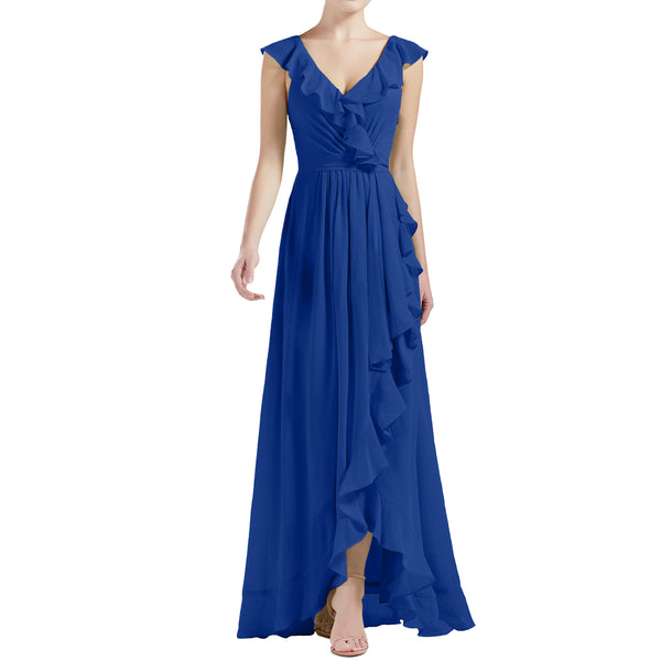 MACloth Women V Neck Ruffle Cap Sleeve Hi-Lo Long Wedding Bridesmaid Dresses