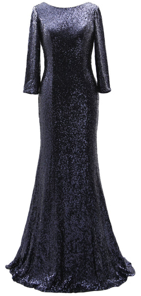 MACloth 3/4 Sleeve Sequin Long Mother of Bride Dresses Bridesmaid Evening Gown