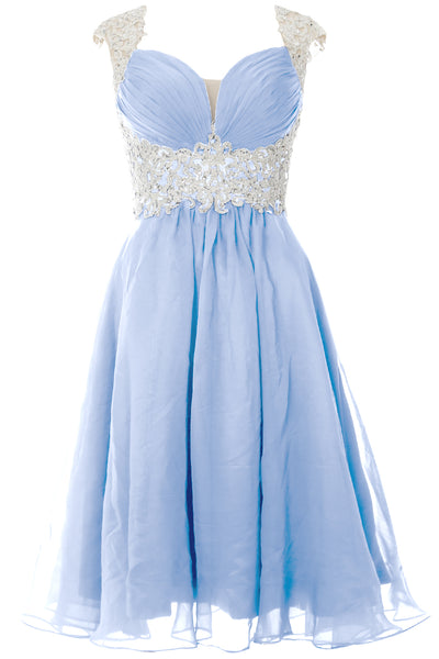 MACloth Women Cap Sleeve Lace Chiffon Short Prom Dress Wedding Party Formal Gown