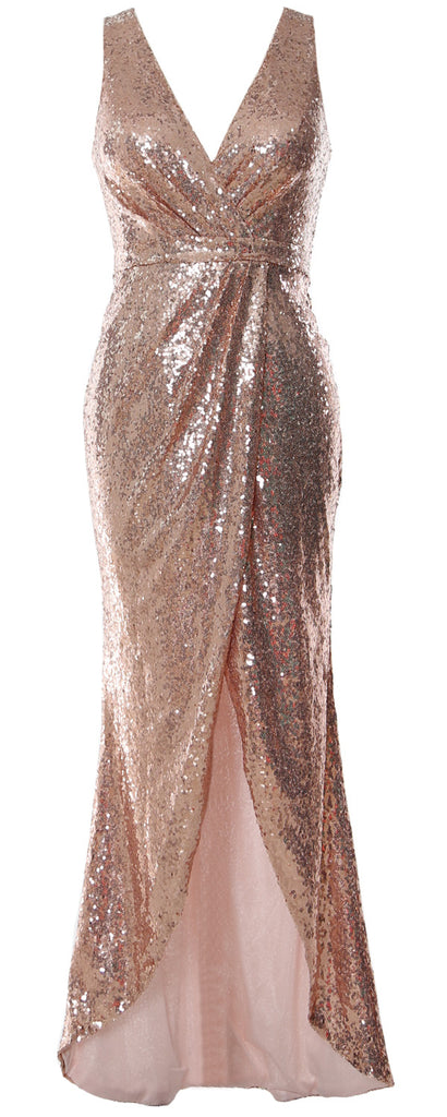 MACloth Women Sequin V Neck Wrap Long Bridesmaid Dresses Wedding Prom Gown
