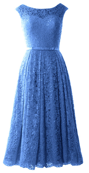 MACloth Women Tea Length Mother Bride Gown Dresses Cap Sleeve Lace Midi Corset