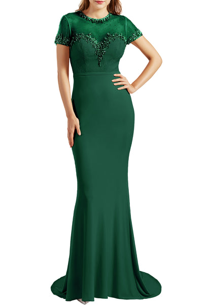 MACloth Women Short Sleeves Mermaid Prom Dresses Jersey Formal Evening Gowns
