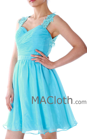 MACloth Straps Sweetheart Knee Length Chiffon Blue Prom Dress, Homecoming Dress 160130
