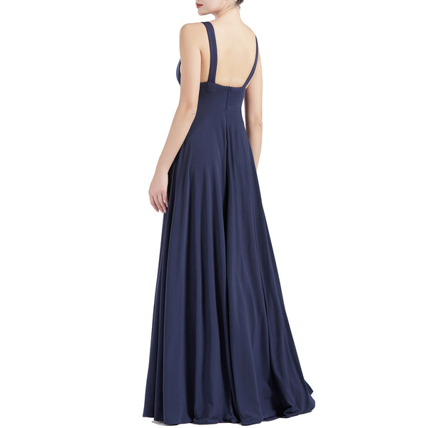 MACloth Women V Neck Stretchy Jersey Maxi Wedding Party Bridesmaid Dresses Prom Gown