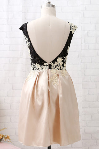 MACloth Cap Sleeves Lace Satin Short Cocktail Dress Champagne Wedding Party Dress
