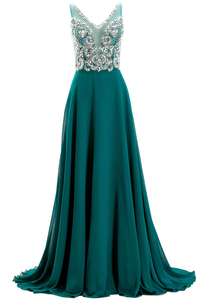 MACloth Straps V Neck Beaded Long Teal Prom Dress Chiffon Formal Evening Gown