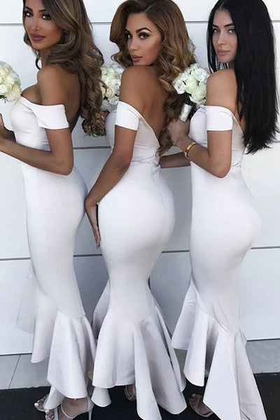 MACloth Off the Shoulder Mermaid Midi Bridesmaid Dress Ivory Cocktail Dress
