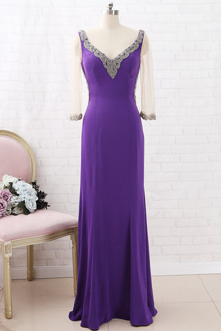 MACloth 3/4 Sleeves V Neck Sheath Crystals Purple Maxi Formal Evening Gown