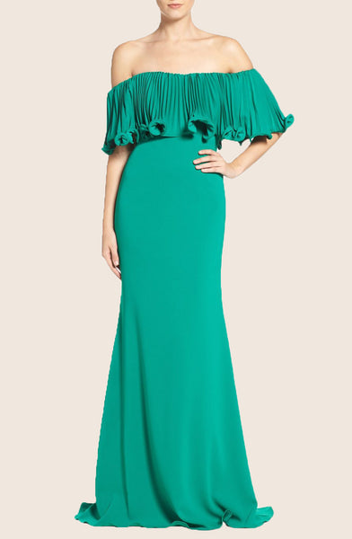 MACloth Off the Shoulder Mermaid Evening Formal Gown Green Prom Dress