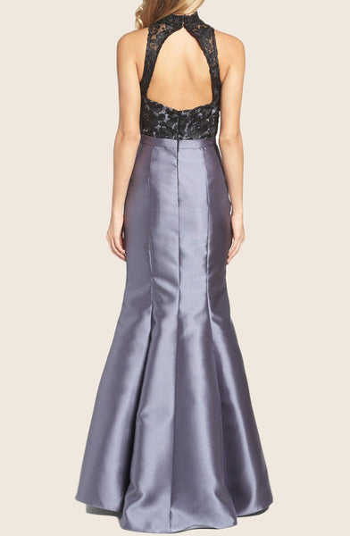 MACloth Mermaid High Neck Lace Taffeta Prom Dress Gray Formal Gown