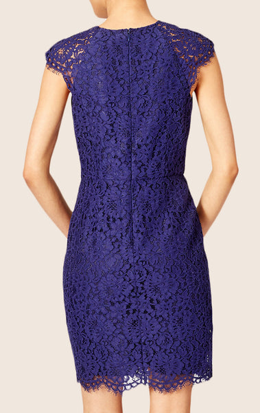 MACloth Cap Sleeves Lace Mini Cocktail Dress Royal Blue Wedding Party Dress
