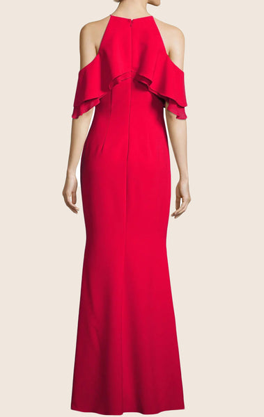 MACloth Off the Shoulder Jersey Maxi Formal Evening Gown Red Prom Dress