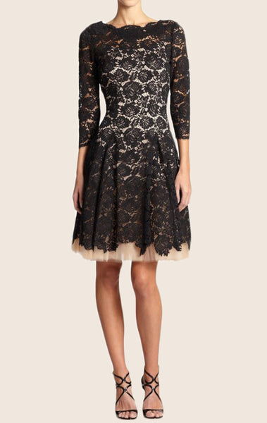MACloth Half Sleeves Short Lace Formal Dress Two Tone Cocktail Dress