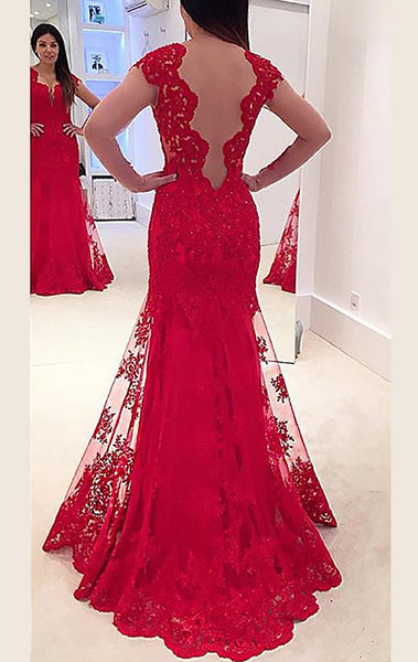 MACloth Long Sleeves V Neck Lace Prom Dress Red Formal Gown