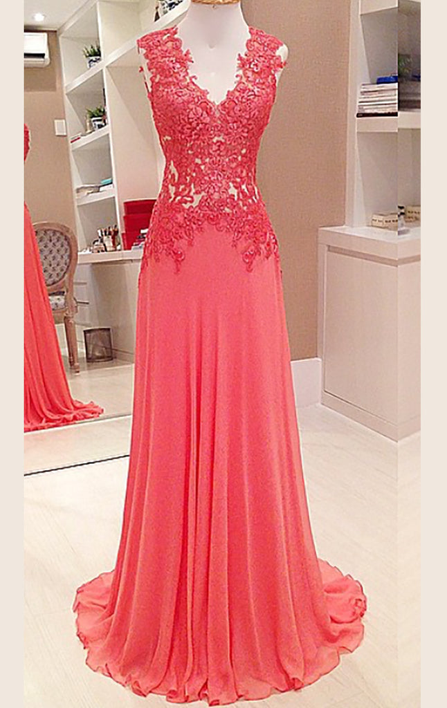 MACloth Straps V Neck Lace Chiffon Long Prom Dress Formal Party Gown