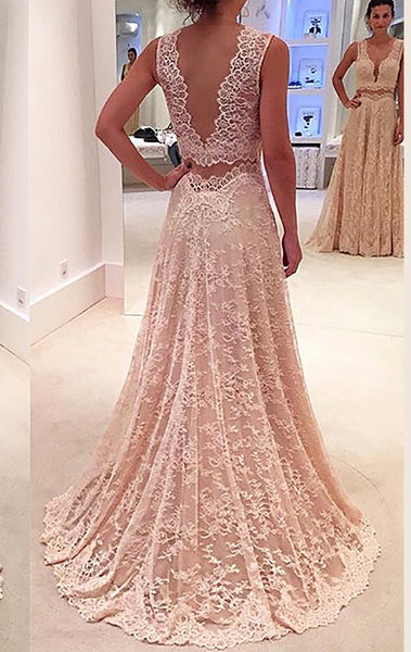 MACloth Two Piece V Neck Lace Long Prom Dress Formal Party Gown