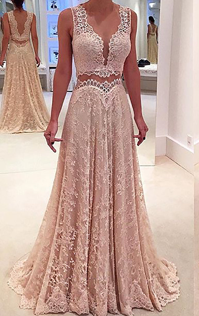MACloth Women V Neck Chiffon Lace Long Prom Dress Formal Party Evening Ball Gown (EU54, Champagne)
