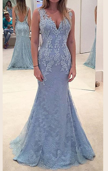 MACloth  Mermaid Straps V Neck Lace Maxi Prom Dress Sky Blue Formal Gown