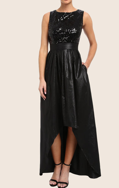MACloth Straps O Neck High Low Prom Dress Black Sequin Taffeta Formal Gown