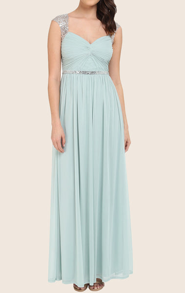 MACloth Straps Sweetheart Long Prom Dress Aqua Formal Gown