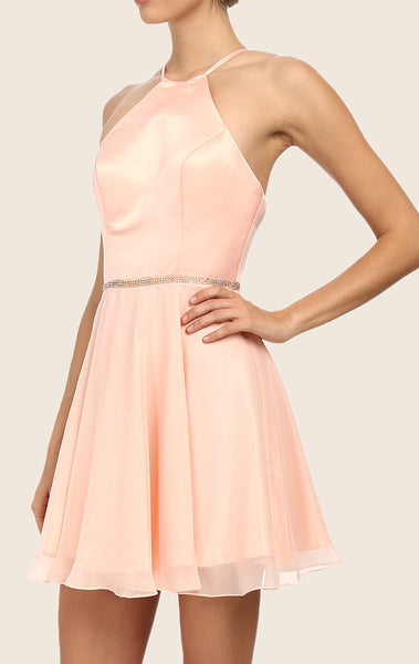 MACloth Halter Satin Chiffon Cocktail Dress Pink Short Bridesmaid Dress
