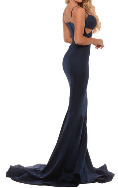 MACloth Mermaid Two Piece Sexy Jersey Prom Dress Dark Navy Formal  Gown