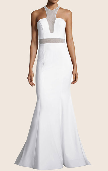 MACloth Mermaid Halter Jersey Prom Dress White Formal Evening Gown