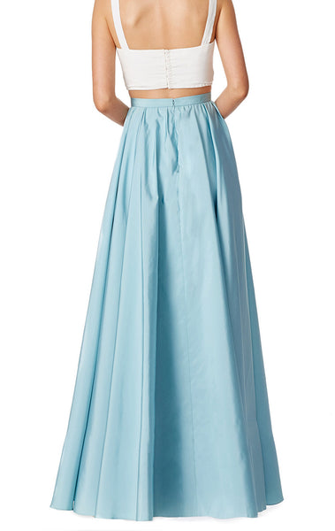 MACloth Two Piece Straps V Neck Satin Long Prom Dress Sky Blue Formal Gown