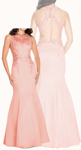 MACloth Mermaid High Neck Lace Satin Prom Dress Blush Pink Formal Evening Gown