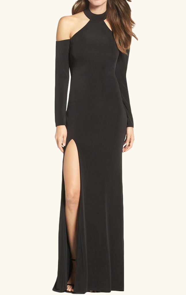 MACloth Long-Sleeve Jersey Cold-Shoulder Prom Gown Black Formal Dress