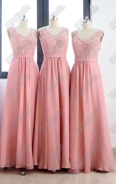 MACloth Straps V Neck Lace Chiffon Long Prom Dress with Open Back Blush Pink Formal Gown