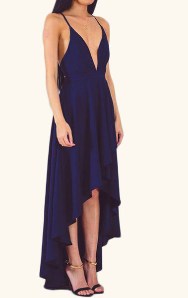 MACloth Deep V Neck Hi-Lo Cocktail Dress Dark Navy Formal Gown