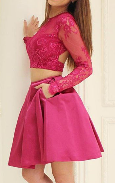 MACloth Two Piece Long Sleeves Lace Cocktail Dress Fuchsia Wedding Party Formal Gown